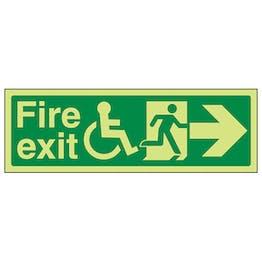 GITD Wheelchair Fire Exit, Arrow Right