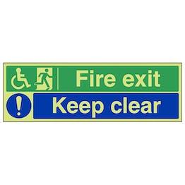 GITD Wheelchair Fire Exit/Keep Clear