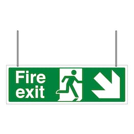 Double Sided Fire Exit Arrow Down Left/Right