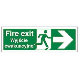 English/Polish - Fire Exit Arrow Right