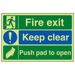 GITD Fire Exit / Keep Clear / Push Pad To Open