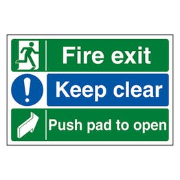 Fire Exit / Keep Clear / Push Pad To Open