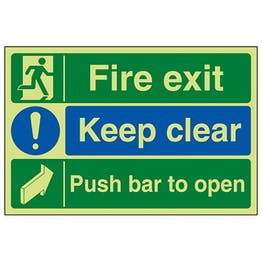 GITD Fire Exit / Keep Clear / Push Bar To Open