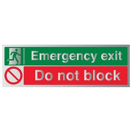 Emergency Exit / Do Not Block - Aluminium Effect