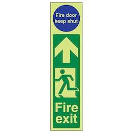 GITD Fire Exit Door Plate Man Left/Keep Shut