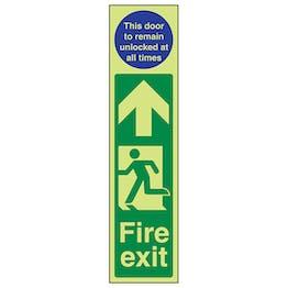 GITD Fire Exit Door Plate Man Left/Door To Remain Unlocked