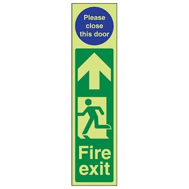 GITD Fire Exit Door Plate Man Left/Please Close Door
