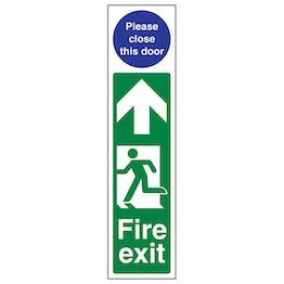 Fire Exit Door Plate Man Left/ Please Close This Door
