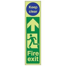 GITD Fire Exit Door Plate Man Left/Keep Clear
