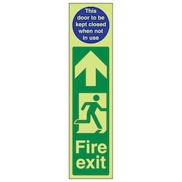 GITD Fire Exit Door Plate Man Right/Door To Be Kept Closed