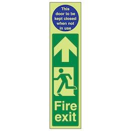 GITD Fire Exit Door Plate Man Left/Door To Be Kept Closed