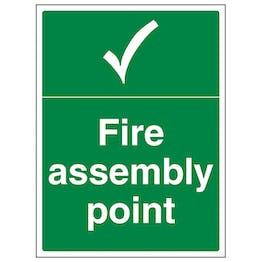 Fire Assembly Point With Tick - Portrait
