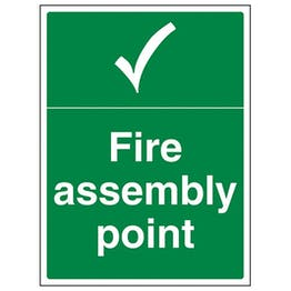 Eco-Friendly Fire Assembly Point With Tick Portrait