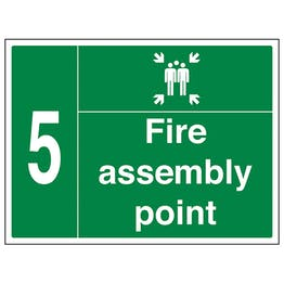 Fire Assembly Point with Family and Number 5
