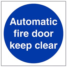 Automatic Fire Door Keep Clear - Polycarbonate