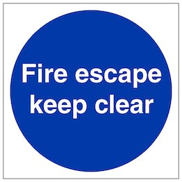 Fire Escape Keep Clear - Polycarbonate
