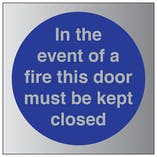 In The Event Of Fire Must Keep Closed - Aluminium Effect