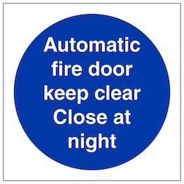 Eco-Friendly Automatic Fire Door Keep Clear Close At Night