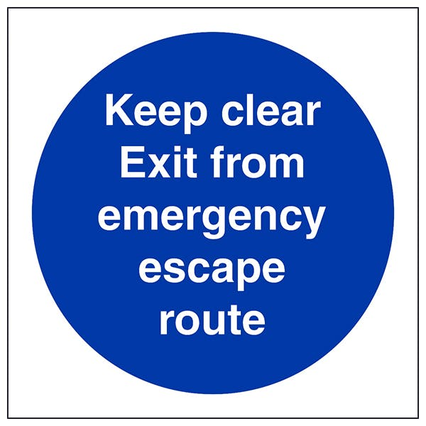 Keep Clear Exit Emergency Escape