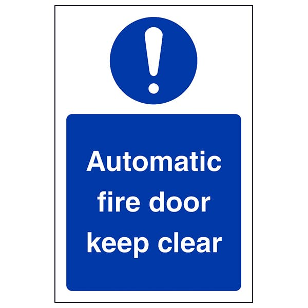 Automatic Fire Door Keep Clear - Portrait