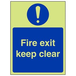 GITD Fire Exit Keep Clear - Portrait