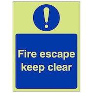 GITD Fire Escape Keep Clear - Portrait