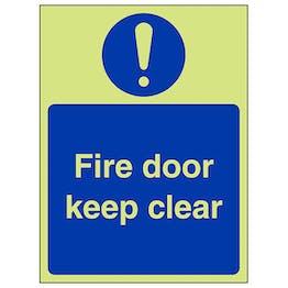 GITD Fire Door Keep Clear - Portrait