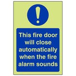 GITD Fire Door Will Close Automatically - Portrait