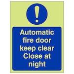 GITD Automatic Fire Door Keep Clear - Portrait