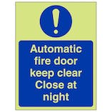 GITD Automatic Fire Door Keep Clear - Portrait