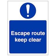 Escape Route Keep Clear - Portrait