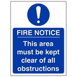 Fire Notice This Area Must Be Clear