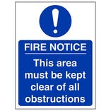 Eco-Friendly Fire Notice This Area Must Be Kept Clear Of All Obstructions