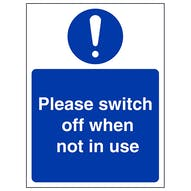 Switch Off When Not In Use With Symbol- Portrait
