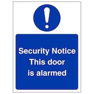 Security Notice This Door Is Alarmed - Portrait