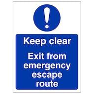 Keep Clear Exit Emergency Escape - Portrait