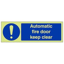 GITD Automatic Fire Door Keep Clear - Landscape
