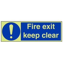GITD Fire Exit Keep Clear - Landscape