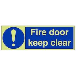 GITD Fire Door Keep Clear - Landscape