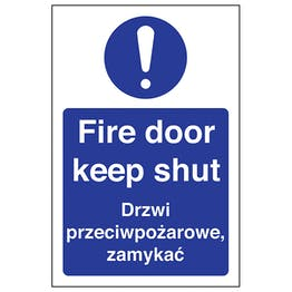 English/Polish - Fire Door Keep Shut