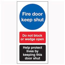 Fire Door Keep Shut / Do Not Block / Help Protect Lives