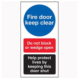 Fire Door Keep Clear / Do Not Block / Help Protect Lives