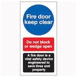 Fire Door Keep Clear / Do Not Block / A Fire Door