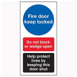 Fire Door Keep Locked / Do Not Block / Help Protect Live