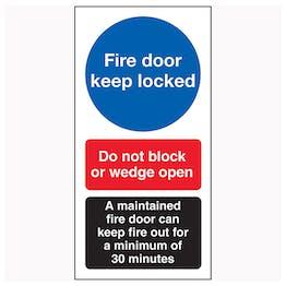 Fire Door Keep Locked / Do Not Block / A Maintained Door