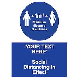 Social Distancing in Effect - 1m+ Minimum Spacing