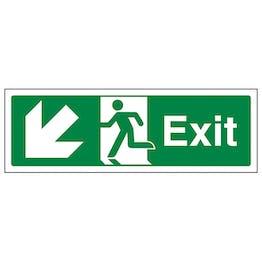 Exit Arrow Down And Left - Landscape