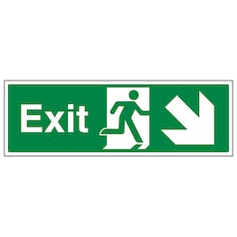 Exit Arrow Down And Right - Landscape