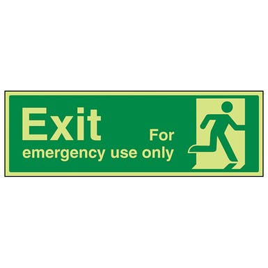 Exit For Emergency Use Only Running Man Right