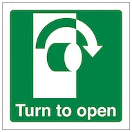Turn To Open Clockwise - Square